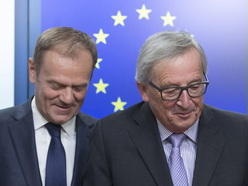 EU Commission President Jean-Claude Juncker (R) and European Council President Donald Tusk, speaking in Brussels, announce an EU Summit on Brexit will take place on 29 April: EPA