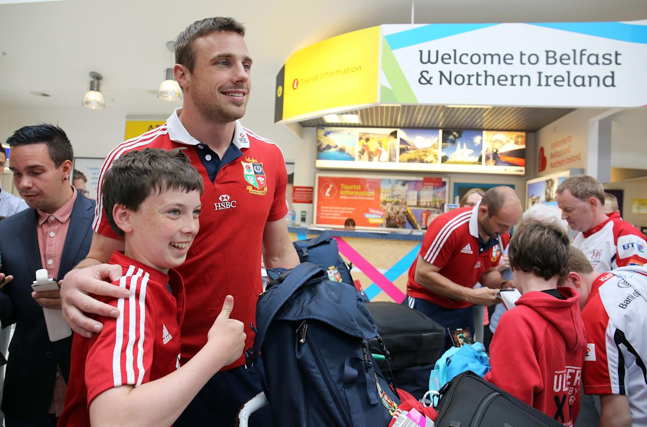British and Irish Lions' Tommy Bowe and Rory Best at George Best Belfast City airport following their series win over Australia. ASSOCIATION Photo. Picture date: Wednesday July 10, 2013. See PA story RUGBYU Lions. Photo credit should read: Paul Faith/PA Wire.