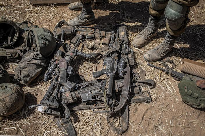 Weapons belonging to soldiers of the Israel Defense Forces near Sderot on May 19, 2021.