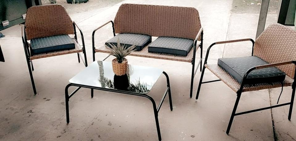 A budget-friendly Kmart outdoor furniture set is getting rave reviews online. Photo: Facebook.