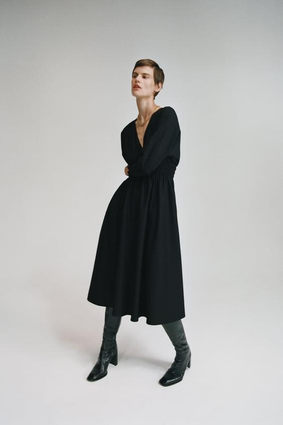 """<h2>Zara Elastic Waist Midi Dress</h2><br>Miss popping into your local Zara after work to peruse the latest drops from the fast-fashion retailer that works at hyper-speed? Yeah, us too. For now, we'll have to make do with shopping this reader-beloved retailer digitally — and we've got our eye on this witchy black midi frock for fall.<br><br><strong>Zara</strong> Elastic Waist Midi Dress, $, available at <a href=""""https://go.skimresources.com/?id=30283X879131&url=https%3A%2F%2Fwww.zara.com%2Fus%2Fen%2Felastic-waist-midi-dress-p08741227.html%3Fv1%3D67268141%26v2%3D1549249"""" rel=""""nofollow noopener"""" target=""""_blank"""" data-ylk=""""slk:Zara"""" class=""""link rapid-noclick-resp"""">Zara</a>"""
