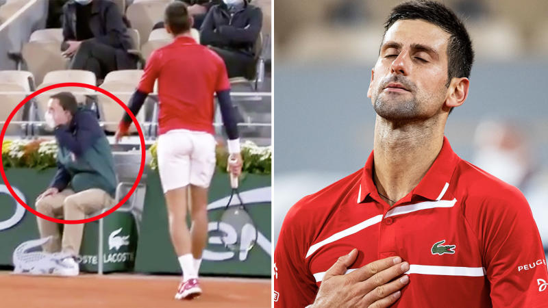 Novak Djokovic, pictured here accidentally hitting a line judge at the French Open.