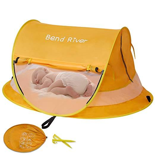Bend River Large Baby Tent with UPF 50+ pop-up sun shelter with mosquito net. SHOP IT: Amazon, $35