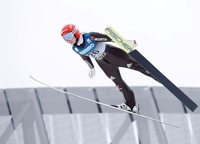 REFILE - CORRECTING BYLINE FIS Ski Jumping World Cup - Women's HS134 - Holmenkollen, Norway - March 11, 2018. Katharina Althaus of Germany competes. NTB Scanpix/Terje Bendiksby via REUTERS ATTENTION EDITORS - THIS IMAGE WAS PROVIDED BY A THIRD PARTY. NORWAY OUT. NO COMMERCIAL OR EDITORIAL SALES IN NORWAY.