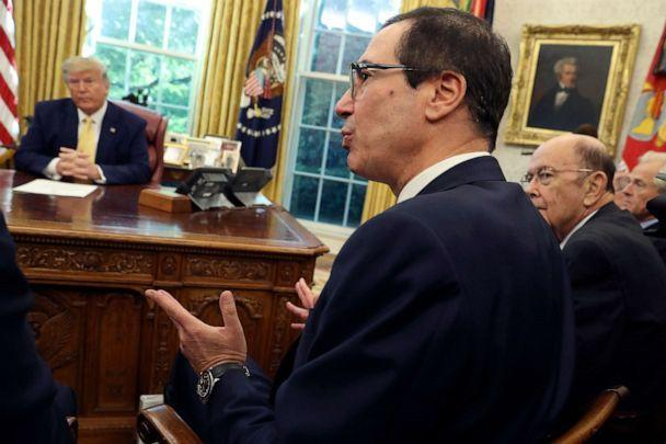PHOTO: Treasury Secretary Steven Mnuchin speaks as Commerce Secretary Wilbur Ross, right, listens with President Donald Trump during their meeting with Vice Premier Liu He in the Oval Office of the White House in Washington, Oct. 11, 2019. (Andrew Harnik/AP)