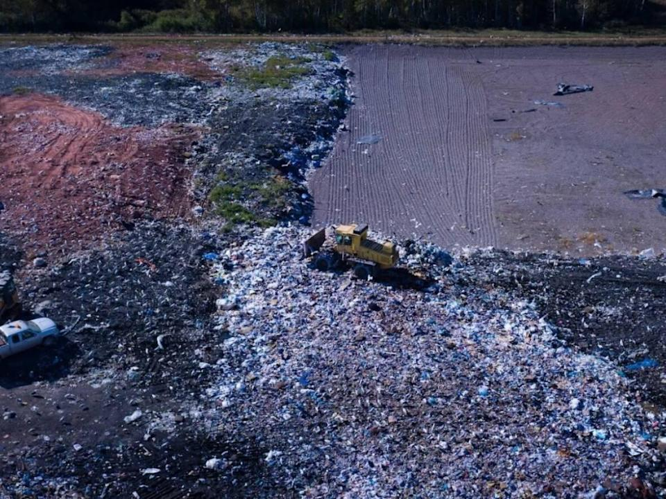 An overhead drone shot of P.E.I.'s only landfill, at the East Prince Waste Management Facility in Wellington.  (Shane Hennessey/CBC - image credit)