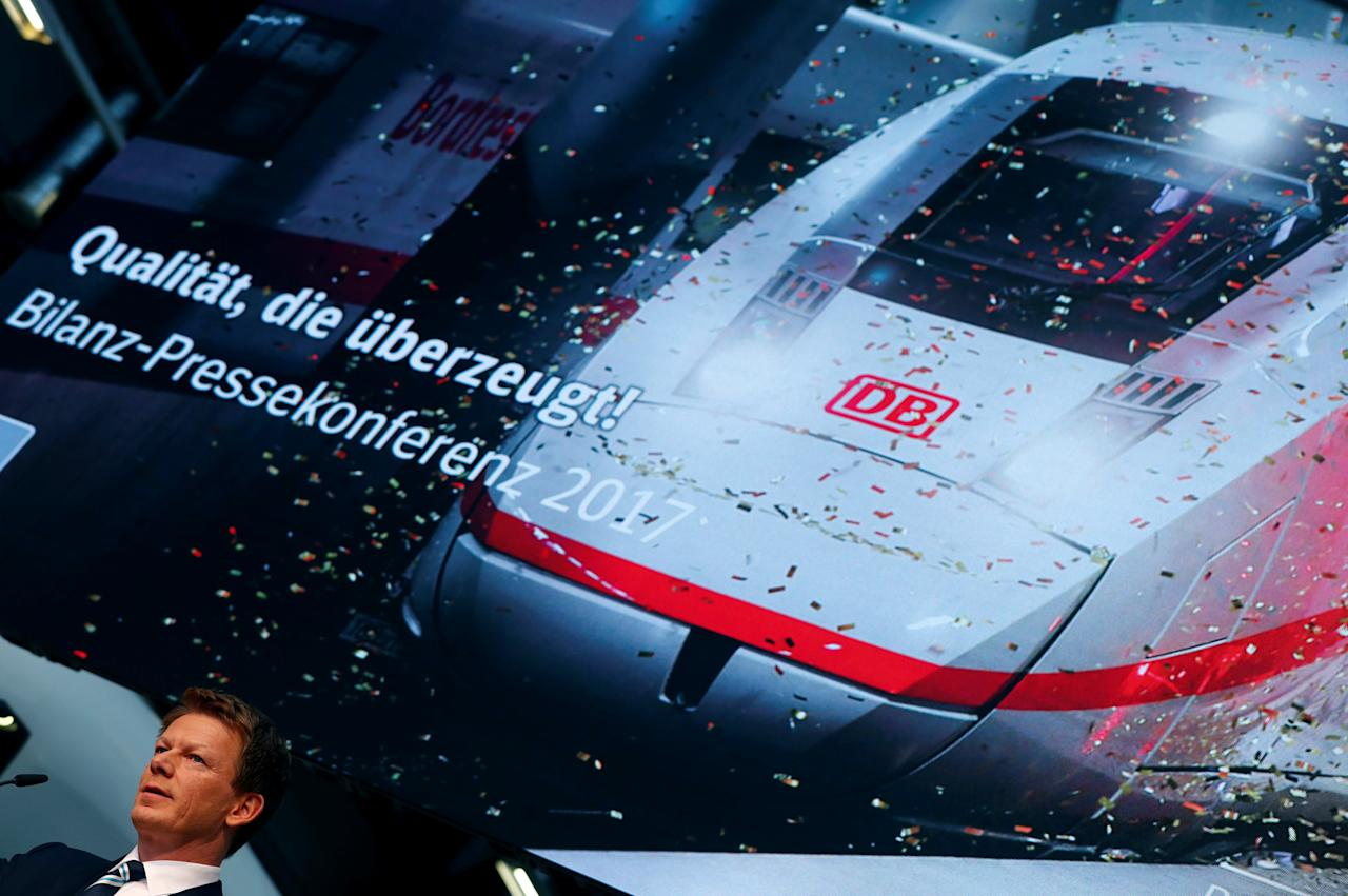 New Chief Executive Officer of Deutsche Bahn AG Bahn Richard Lutz during the annual press conference in Berlin, Germany, March 23, 2017.     REUTERS/Fabrizio Bensch     TPX IMAGES OF THE DAY
