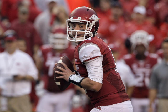 Arkansas quarterback Brandon Allen prepares to pass during the first quarter of an NCAA college football game against Texas A&M in Fayetteville, Ark., Saturday, Sept. 28, 2013. (AP Photo/Danny Johnston)