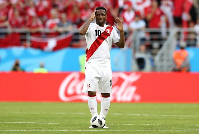 Jefferson Farfan has seen the last of his World Cup action after sustaining a frightening head injury that sent him to the hospital and caused him to temporarily lose the feeling in his extremities. (Photo by Elsa/Getty Images)