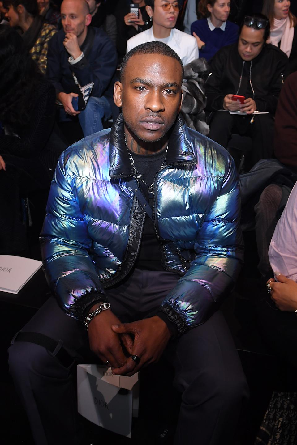 PARIS, FRANCE - JANUARY 18: Skepta attends the Dior Homme Menswear Fall/Winter 2019-2020 show as part of Paris Fashion Week on January 19, 2019 in Paris, France.  (Photo by Victor Boyko/Getty Images)