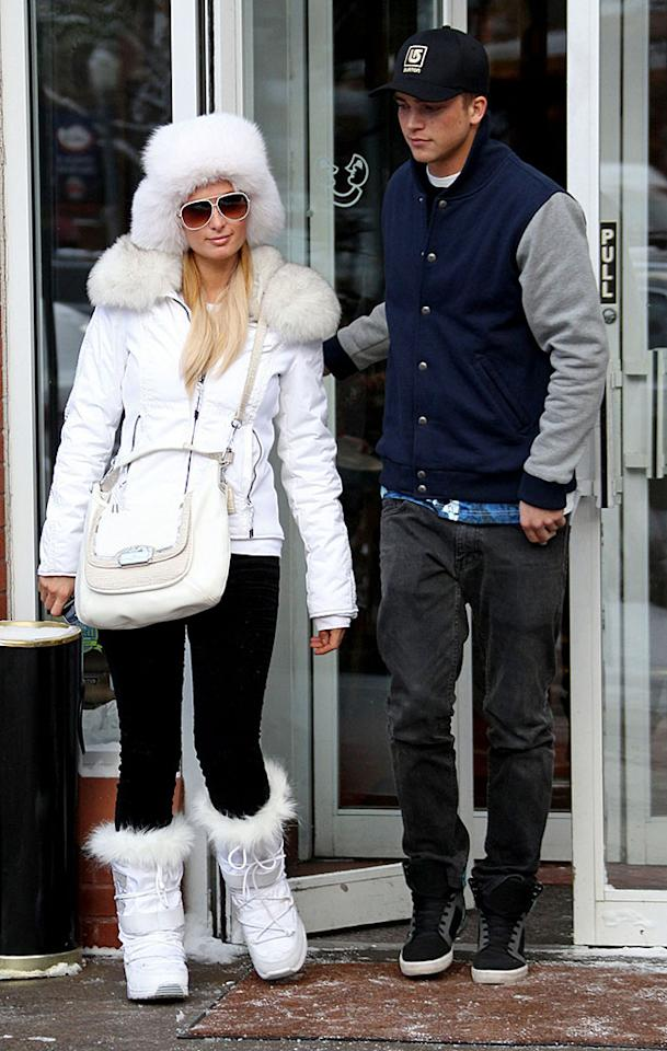Paris Hilton and boyfriend River Viiperi brave freezing temperatures to have lunch at Mezzaluna with Brandon Davis in Aspen