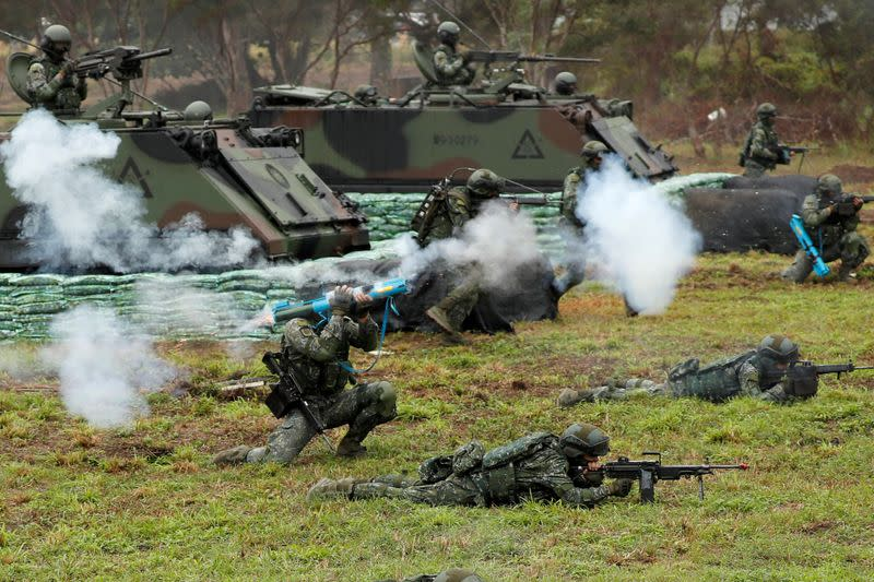 FILE PHOTO: Taiwanese soldiers take part in a military drill in Hualien