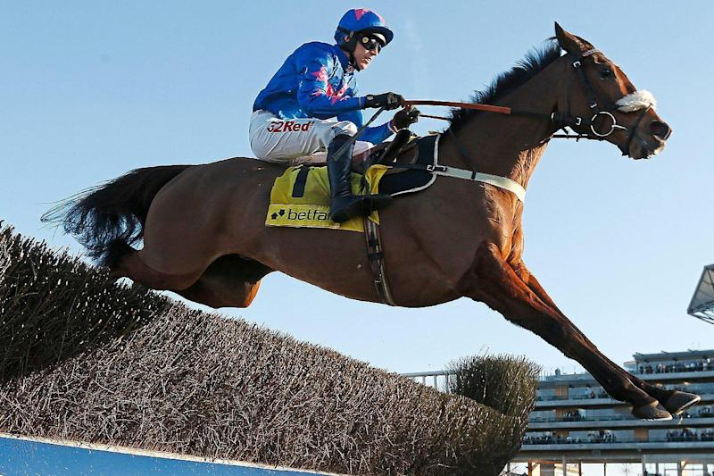 Card sharp: Paddy Brennan steers Cue Card over the last to win the Betfair Ascot Chase last month: Getty Images