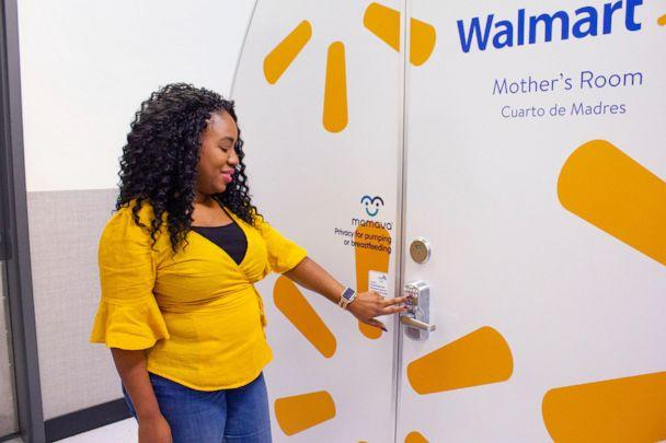 PHOTO: Walmart associate Tennille Webb stands next to the Mamava pod at the Walmart in Bentonville, Arkansas. (Walmart)