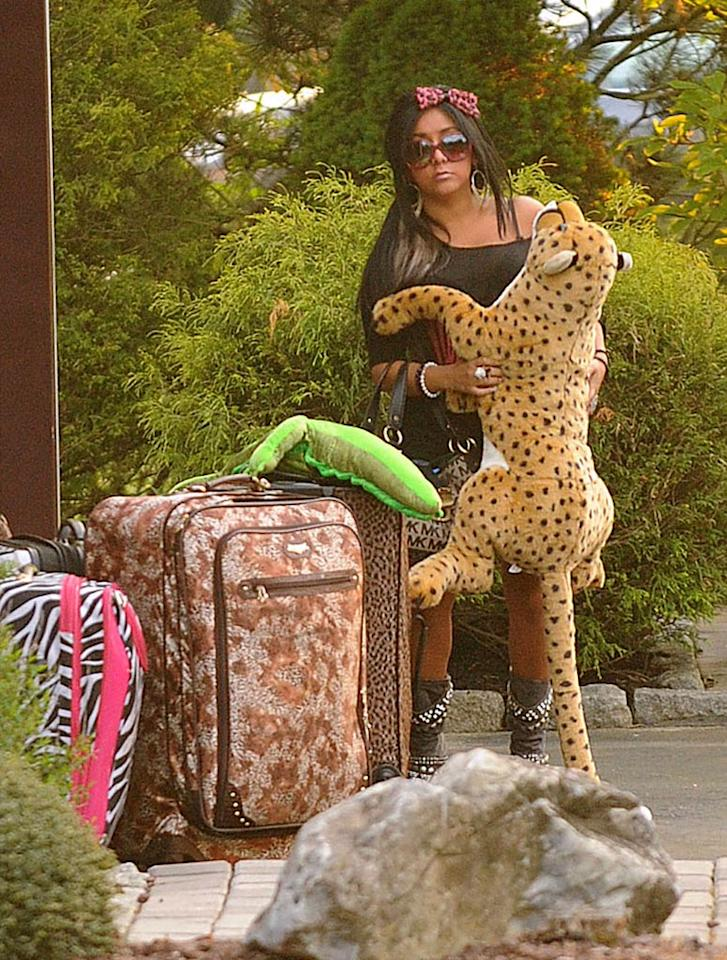 """The first rule of travel in crazy Snooki's book? Always bring a giant stuffed leopard with you. Though their trip to Italy was a bit delayed, the whole """"Jersey Shore"""" crew finally got their show on the road this week and headed to Italy, ready to embarrass not just the Garden State, but all of America. Demis Maryannakis/<a href=""""http://www.pacificcoastnews.com/"""" target=""""new"""">PacificCoastNews.com</a> - May 6, 2011"""