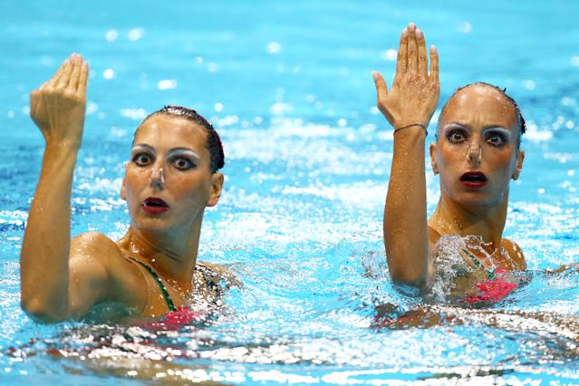 LONDON, ENGLAND - AUGUST 06: Mariangela Perrupato and Giulia Lapi of Italy compete in the Women's Duets Synchronised Swimming Free Routine Preliminary on Day 10 of the London 2012 Olympic Games at the Aquatics Centre on August 6, 2012 in London, England. (Photo by Al Bello/Getty Images)