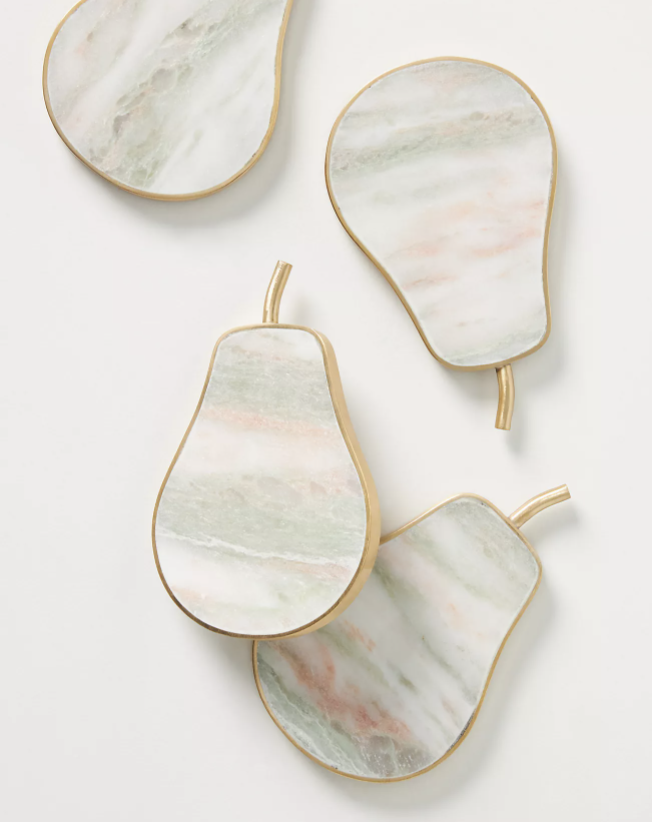 """<p><strong>Anthropologie</strong></p><p>anthropologie.com</p><p><strong>$40.00</strong></p><p><a href=""""https://go.redirectingat.com?id=74968X1596630&url=https%3A%2F%2Fwww.anthropologie.com%2Fshop%2Fpear-marble-coasters-set-of-4&sref=https%3A%2F%2Fwww.delish.com%2Fkitchen-tools%2Fg4499%2Fbest-friend-gifts%2F"""" rel=""""nofollow noopener"""" target=""""_blank"""" data-ylk=""""slk:Shop Now"""" class=""""link rapid-noclick-resp"""">Shop Now</a></p><p>The pear shape of these marble coasters is absolutely darling.</p>"""