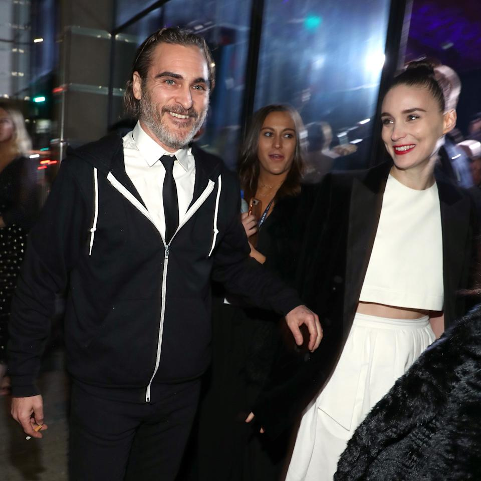 LOS ANGELES, CA - JANUARY 05:  Joaquin Phoenix (L) and Rooney Mara attend Michael Muller's HEAVEN, presented by The Art of Elysium, on January 5, 2019 in Los Angeles, California.  (Photo by Rich Polk/Getty Images for The Art of Elysium)