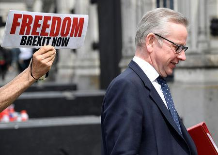 A pro-Brexit protester holds a placard near Environment Secretary Michael Gove, ahead of the forthcoming EU elections, outside of the Houses of Parliament in London, Britain, May 22, 2019. REUTERS/Toby Melville