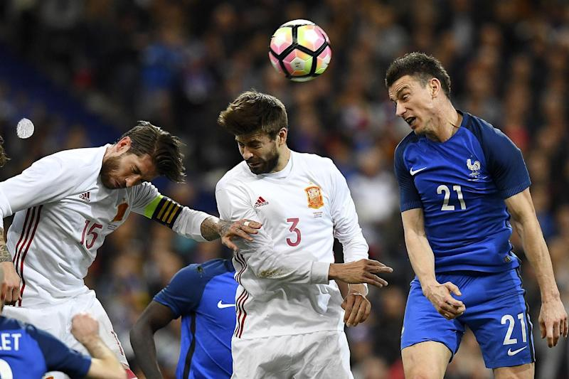 Defeat | Laurent Koscielny (far right) was on the losing side as Spain beat France: AFP/Getty Images