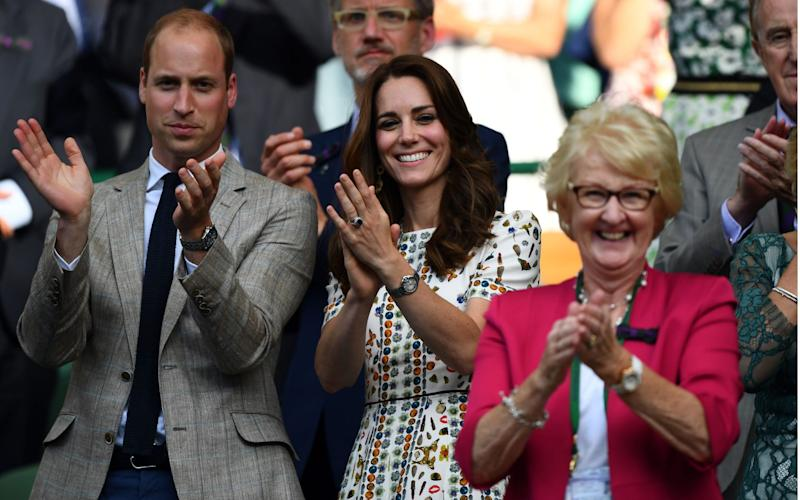 Cathie Sabin at Wimbledon in 2016 with the Duke and Duchess of Cambridge, cheering the British player Heather Watson and her partner Henri Kontinen after their victory in the mixed doubles final - Javier Garcia/BPI/Shutterstock