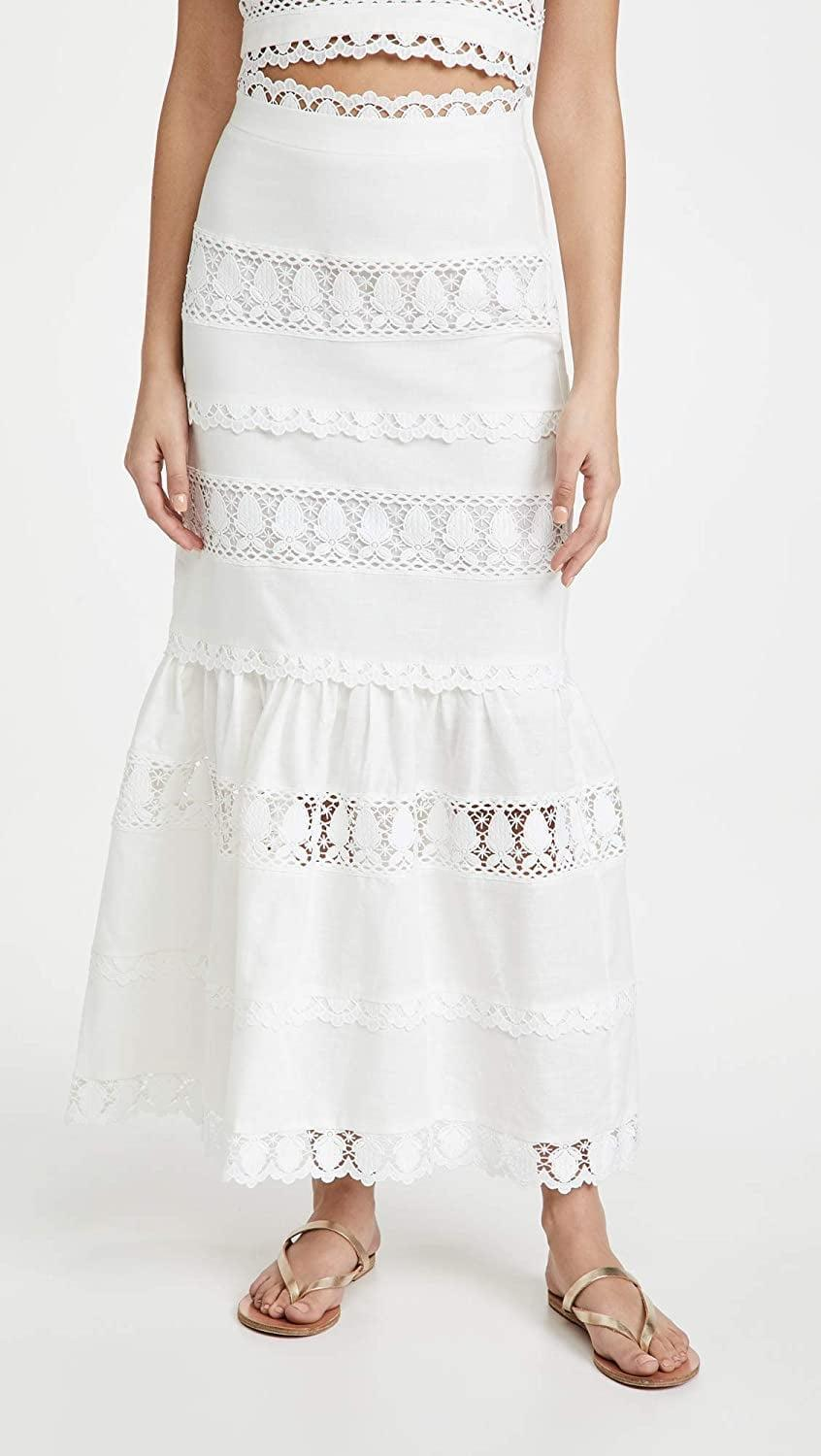 <p>This luxe <span>endless rose Lace Trim Maxi Skirt</span> ($110) will get you tons of compliments.</p>