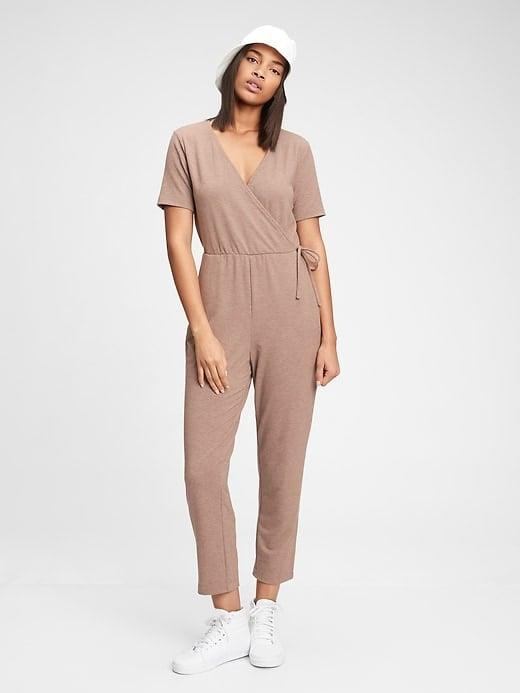 <p>There's just something about a loose one-piece and this <span>Gap Supersoft Wrap-Front Jumpsuit</span> ($39, originally $80) is no exception.</p>