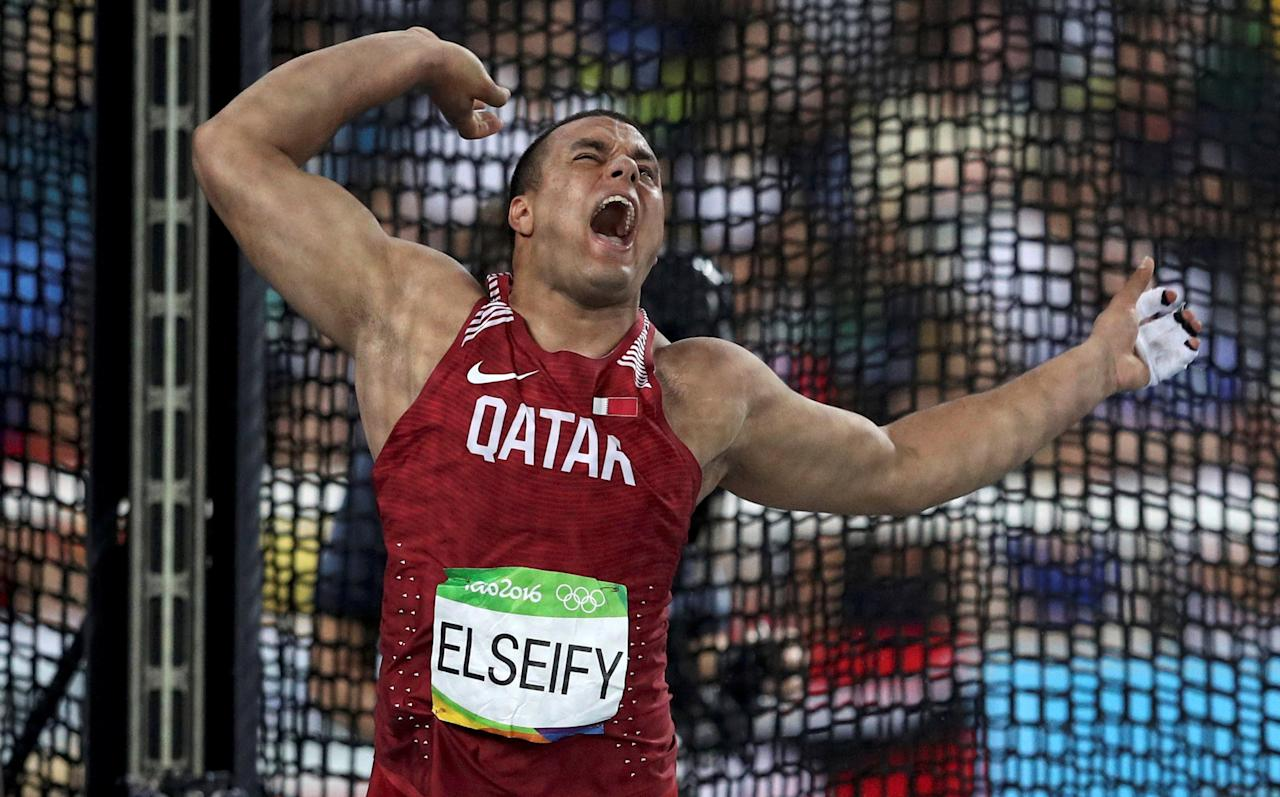 2016 Rio Olympics - Athletics - Final - Men's Hammer Throw Final - Olympic Stadium - Rio de Janeiro, Brazil - 19/08/2016.  Ashraf Amjad Al-Saifi (QAT) of Qatar competes.  REUTERS/Phil Noble/File Photo FOR EDITORIAL USE ONLY. NOT FOR SALE FOR MARKETING OR ADVERTISING CAMPAIGNS.