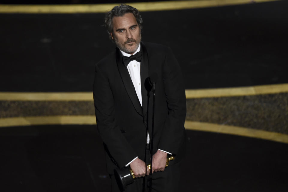 <p>Actor Joaquin Phoenix, who won for his work as the titular Joker in last year's most nominated film. (Chris Pizzello/AP Photo)</p>