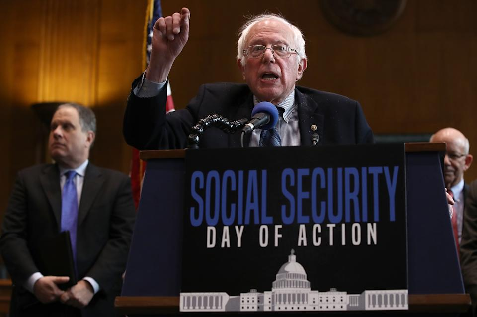 """WASHINGTON, DC - FEBRUARY 16:  Sen. Bernie Sander (I-VT) speaks at a news conference on the Social Security system February 16, 2017 in Washington, DC. The news conference, hosted by Social Security Works, was held to mark """"the day that millionaires stop paying into Social Security for the rest of the year"""" and to """"demand that the wealthiest pay their fair share into Social Security."""" (Photo by Win McNamee/Getty Images)"""
