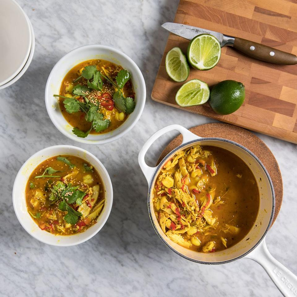 "<p>In this version of chicken stew from Food & Wine's Paige McCurdy-Flynn, hominy takes place of noodles, and add fresh turmeric and lime juice add an irresistible deep flavor. If you can't find fresh turmeric, 1 tablespoon of ground turmeric can be substituted.</p><p><a href=""https://www.foodandwine.com/recipes/turmeric-chicken-stew"">GO TO RECIPE</a></p>"