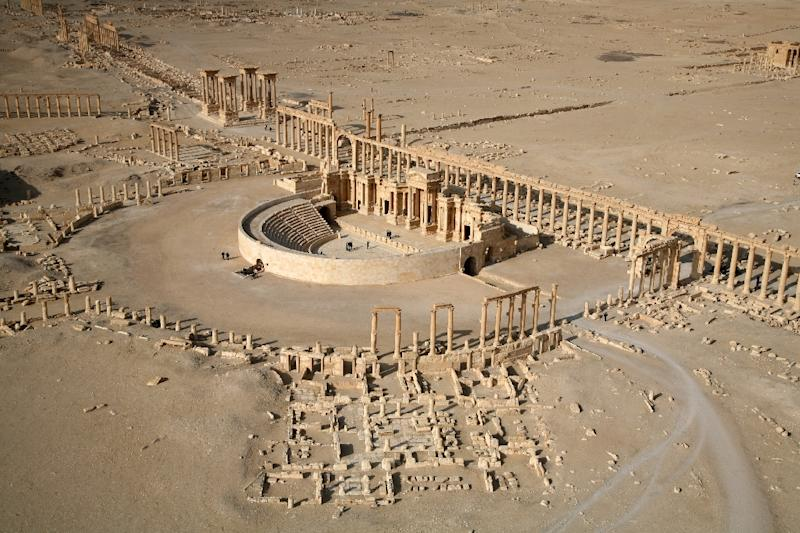 An aerial view taken on January 13, 2009 shows a part of the ancient city of Palmyra