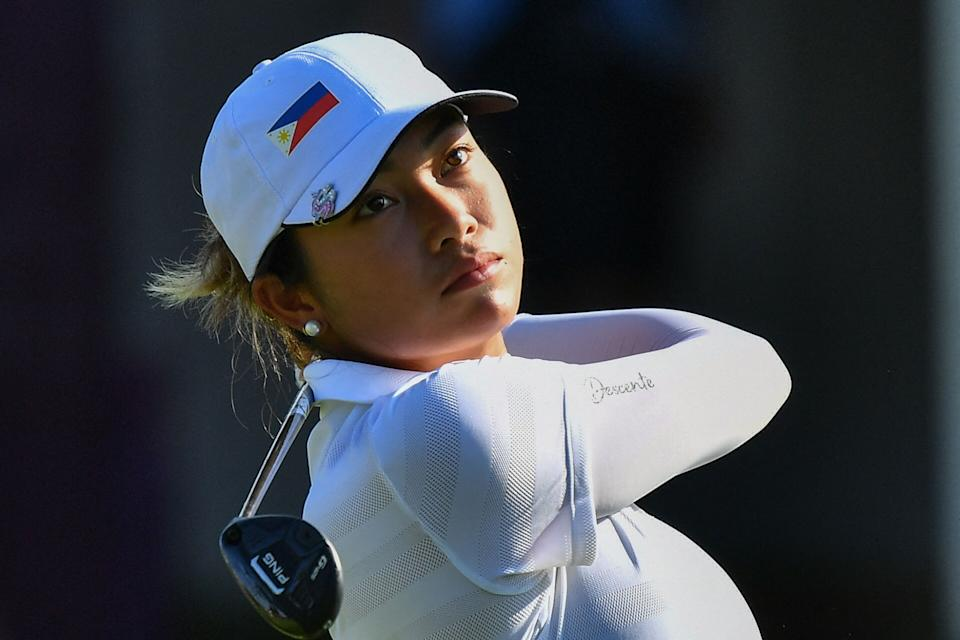 The Philippines' Bianca Pagdanganan during the women's golf individual competition at the 2020 Tokyo Olympics.