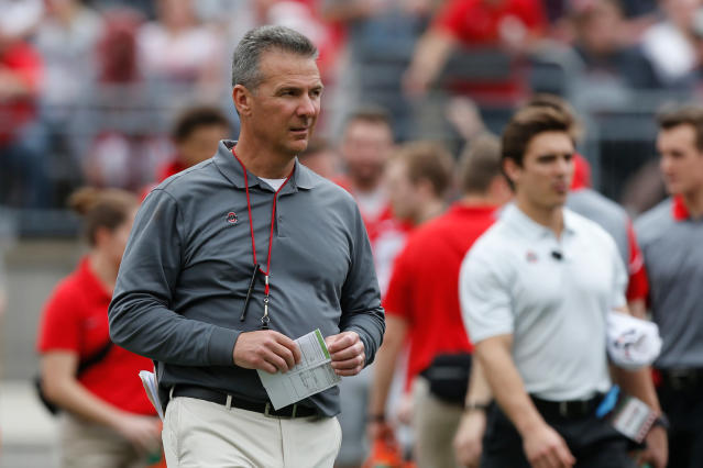 Ohio State head coach Urban Meyer watches their NCAA college spring football game Saturday, April 14, 2018, in Columbus, Ohio. (AP Photo/Jay LaPrete)