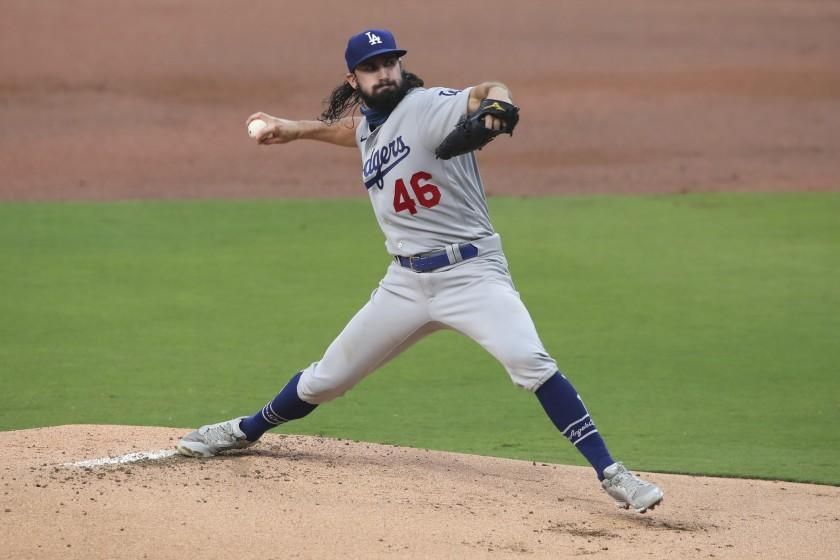 Los Angeles Dodgers starting pitcher Tony Gonsolin delivers a pitch against the San Diego Padres in the first inning of a baseball game Tuesday, Sept. 15, 2020, in San Diego. (AP Photo/Derrick Tuskan)