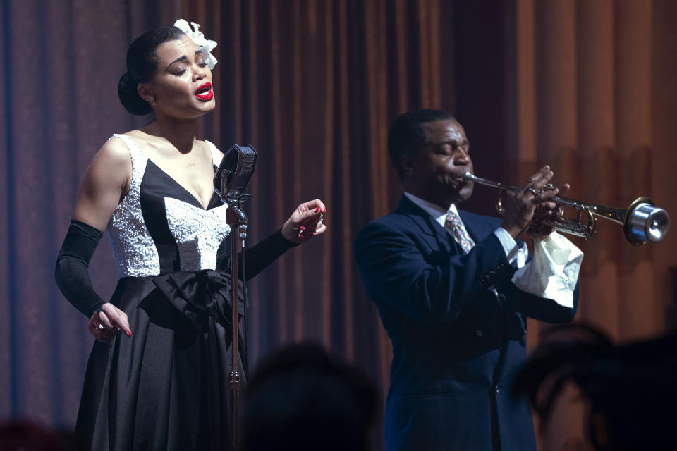 Andra Day and Kevin Hanchard in The United States vs. Billie Holiday<span class=