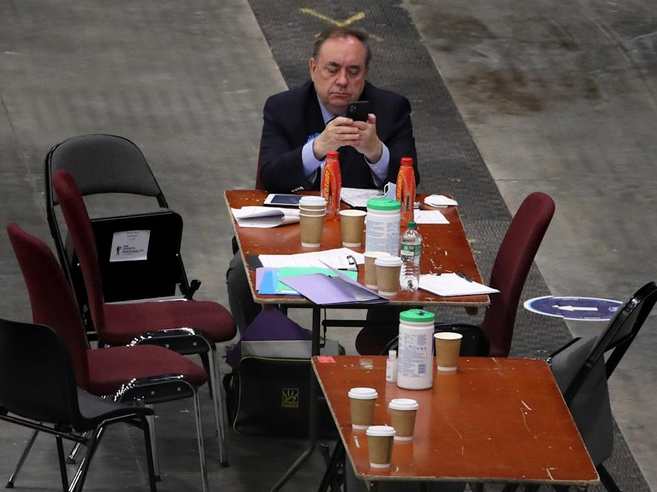 <p>Alex Salmond at the count for the Scottish parliament elections</p> (PA)