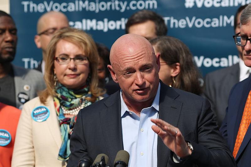 Former astronaut Mark Kelly speaking in New York in 2016 at an anti-gun violence rally (Getty Images)