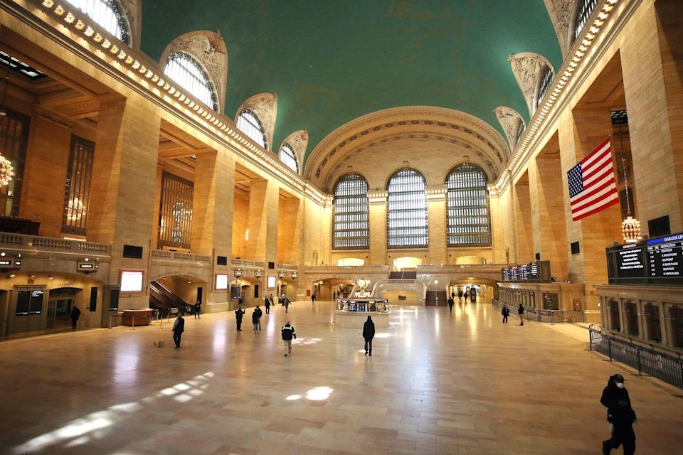 "<a href=""https://www.cntraveler.com/activities/new-york/grand-central-terminal?mbid=synd_yahoo_rss"" rel=""nofollow noopener"" target=""_blank"" data-ylk=""slk:Grand Central Terminal"" class=""link rapid-noclick-resp"">Grand Central Terminal</a> was mostly empty in the early afternoon hours on April 2. The station typically receives <a href=""https://www.grandcentralterminal.com/about/"" rel=""nofollow noopener"" target=""_blank"" data-ylk=""slk:750,000 visitors every day"" class=""link rapid-noclick-resp"">750,000 visitors every day</a>, making it the second-most visited landmark in New York after Times Square."