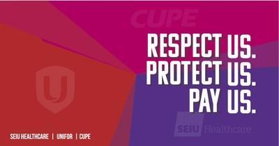 SEIU Healthcare, CUPE and Unifor 'Respect Us. Protect Us. Pay Us' campaign on behalf of the unions' 175,000 healthcare workers. (CNW Group/Unifor)