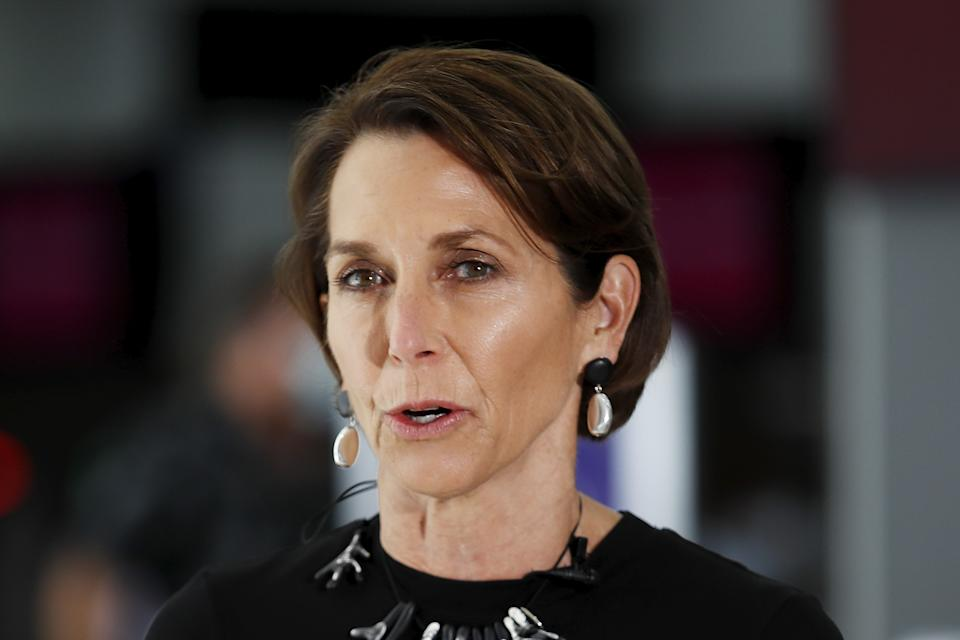 Jayne Hrdlicka, Chief Executive Officer of Virgin Australian speaks to the media during the Virgin Australia and AFL Media Opportunity at Melbourne Airport on March 15, 2021 in Melbourne, Australia. (Photo by Dylan Burns/AFL Photos via Getty Images)