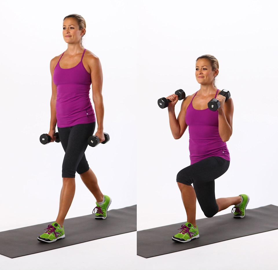 <ul> <li>Stand tall with your feet hip-width distance apart. Hold a dumbbell in each hand at your sides.</li> <li>Step forward with the left foot as you bend the elbows into a bicep curl. Lower your hips until both knees are bent at about a 90-degree angle. Keep the front knee directly above the ankle and lower the right knee to just tap the floor. </li> <li>Keep the weight in your heels as you push back to the starting position, completing one rep.</li> </ul>