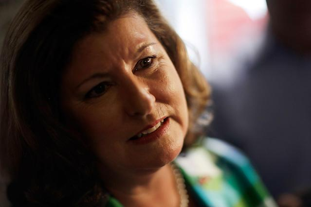 <p>Republican candidate for 6th congressional district Karen Handel talks to reporters during a campaign stop at Old Hickory House in Tucker, Ga., Monday, June 19, 2017. (Photo: David Goldman/AP) </p>