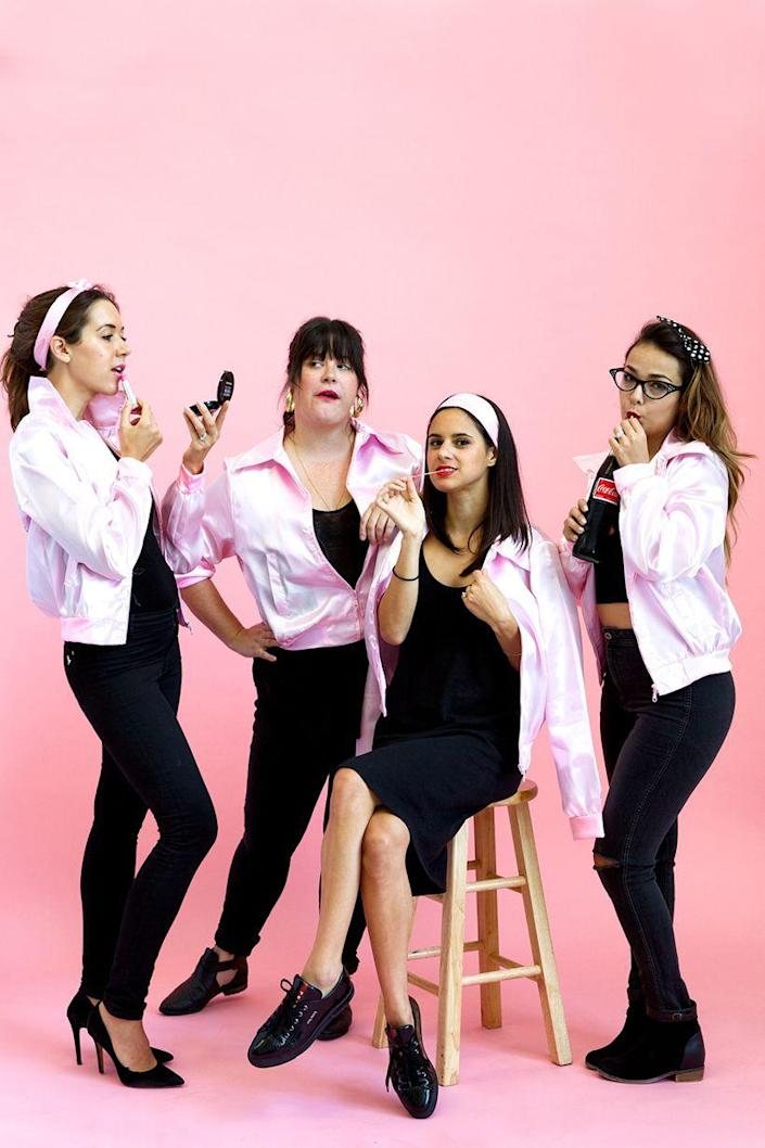 """<p>You and the gang can be in the pink this Halloween by either buying the iconic jacket or DIYing it yourself. Either way, <em>Grease</em> is the word!</p><p><strong>Get the tutorial at <a href=""""https://camillestyles.com/entertaining/parties/pink-ladies-costume/"""" rel=""""nofollow noopener"""" target=""""_blank"""" data-ylk=""""slk:Camille Styles"""" class=""""link rapid-noclick-resp"""">Camille Styles</a>.</strong></p><p><a class=""""link rapid-noclick-resp"""" href=""""https://www.amazon.com/Adult-Grease-Ladies-Jacket-Medium/dp/B00M21X53Y/ref=sr_1_2?tag=syn-yahoo-20&ascsubtag=%5Bartid%7C10050.g.32906192%5Bsrc%7Cyahoo-us"""" rel=""""nofollow noopener"""" target=""""_blank"""" data-ylk=""""slk:SHOP PINK SATIN JACKETS"""">SHOP PINK SATIN JACKETS</a><strong><br></strong></p><p><strong>RELATED: <a href=""""https://www.countryliving.com/diy-crafts/g22133528/grease-halloween-costumes/"""" rel=""""nofollow noopener"""" target=""""_blank"""" data-ylk=""""slk:30 'Grease' Costumes You Can DIY or Buy for Halloween"""" class=""""link rapid-noclick-resp"""">30 'Grease' Costumes You Can DIY or Buy for Halloween</a></strong></p>"""