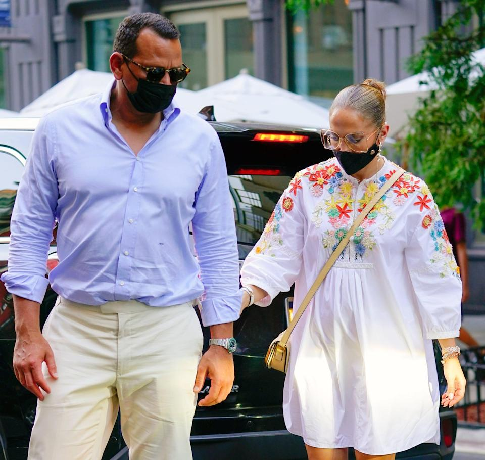 """<p>After four years together, the couple reportedly called off their engagement. """"<a href=""""http://people.com/music/jennifer-lopez-alex-rodriguez-end-engagement/"""" class=""""link rapid-noclick-resp"""" rel=""""nofollow noopener"""" target=""""_blank"""" data-ylk=""""slk:This has been a long time coming"""">This has been a long time coming</a>,"""" a source told <strong>People</strong>. """"They are tied in their business worlds so it's not a cut and dry break up. It's taken a while for them to even think about untangling it all."""" </p> <p>By March 13, however, <a href=""""https://www.popsugar.com/celebrity/jennifer-lopez-alex-rodriguez-shut-down-breakup-rumors-48215341"""" class=""""link rapid-noclick-resp"""" rel=""""nofollow noopener"""" target=""""_blank"""" data-ylk=""""slk:Lopez and Rodriguez had released a joint statement"""">Lopez and Rodriguez had released a joint statement</a> to <strong>People</strong> saying they are """"working through some things."""" The duo reunited in the Dominican Republic on March 14 and are reportedly <a href=""""https://people.com/music/jennifer-lopez-alex-rodriguez-willing-to-do-whatever-it-takes-to-stay-together-source/"""" class=""""link rapid-noclick-resp"""" rel=""""nofollow noopener"""" target=""""_blank"""" data-ylk=""""slk:trying to work through their differences"""">trying to work through their differences</a>.</p>"""