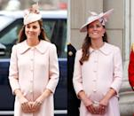 <p>Middleton has worn this baby pink Alexander McQueen coat with pearl buttons to Trooping the Colour in June 2013 and the Commonwealth Service in March 2015. </p>