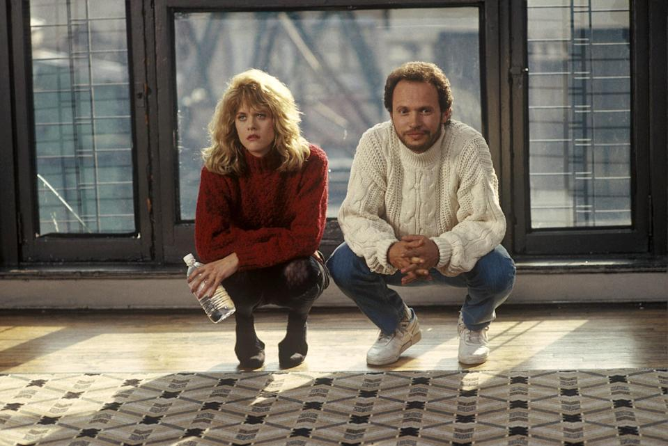 """<p>A romantic comedy that speedily acknowledges Christmas while making a beeline to a climax on New Year's Eve. Harry and Sally spend the holiday together twice, once as friends and once as...something else. Harry's declaration of love just before midnight is of course iconic, but the truest NYE moment, to me, is just before, when Sally tries to duck out of the party to avoid being left alone, unkissed, at the end of the countdown. Her married friend Jess offers to kiss her anyway, but she just can't do it. She just can't spend another holiday alone in a crowded room, the single girl at the party. Little does she know that love is on its way, literally running toward her. Is there a better encapsulation of the highs and lows of the New Year tradition?</p> <p><a href=""""https://www.amazon.com/When-Harry-Sally-Billy-Crystal/dp/B001Q556QG"""" rel=""""nofollow noopener"""" target=""""_blank"""" data-ylk=""""slk:Available to rent on Amazon Prime Video"""" class=""""link rapid-noclick-resp""""><em>Available to rent on Amazon Prime Video</em></a></p>"""