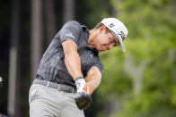 Garrick Higgo, of South Africa, hits off the third tee during the final round of the Palmetto Championship golf tournament in Ridgeland, S.C., Sunday, June 13, 2021. (AP Photo/Stephen B. Morton)