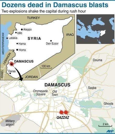 Graphic map of Syria showing central Damascus and the suburb of Qazzaz. Syrian troops stormed a village in central Syria on Sunday and rained shells on rebel strongholds Douma and Rastan, monitors said, as a UN-backed truce entered a second month looking in tatters