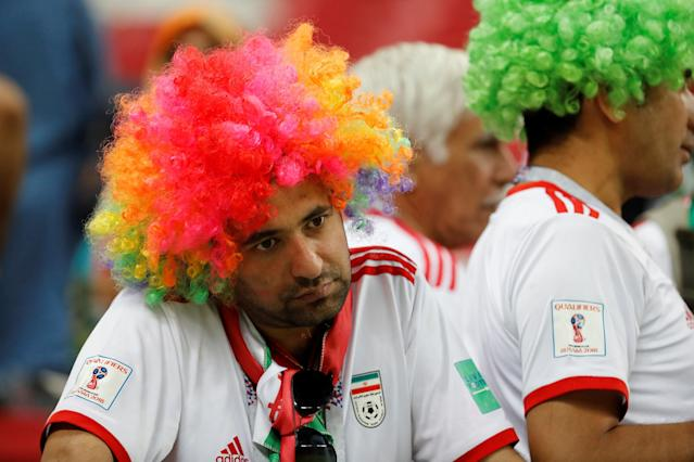 Soccer Football - World Cup - Group B - Iran vs Spain - Kazan Arena, Kazan, Russia - June 20, 2018 Iran fan looks dejected after the match REUTERS/Toru Hanai